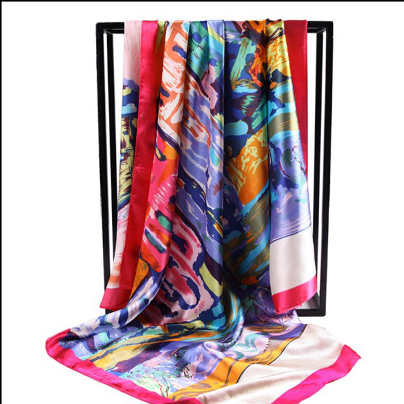 Euro Vintage Style Luxury Brand Designer Large Square Scarves For Women Pretty <font><b>Foulard</b></font> Satin Neck Scarf Bandana <font><b>90</b></font> * For Cm image