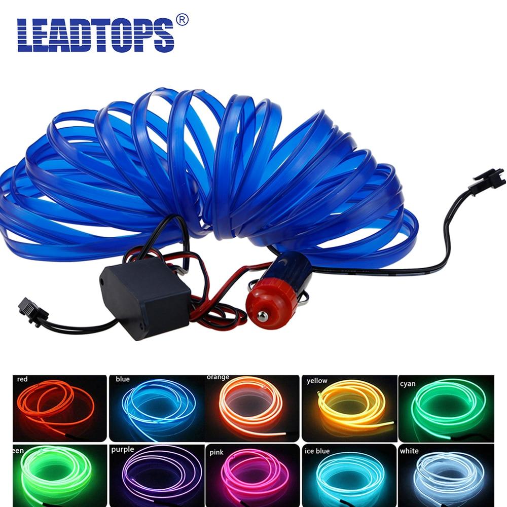 Univerzální světlomety pro nástroje pro automobily Led 5M 9 Colors Styling auta Flexibilní neonová světla dekorativní AE