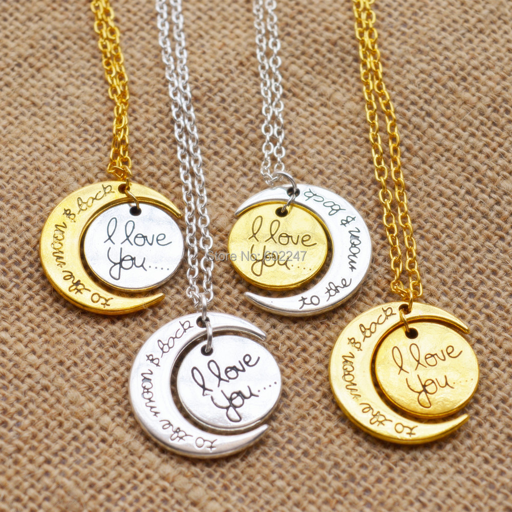 mom dad heart charm antique gold plated i love you to the moon and back pendants fashion jewelry diy jewelry making handmade in pendant necklaces from