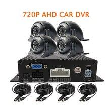 Free Shipping 4CH G-sensor 1.0MP 720P AHD 256GB SD Car DVR Video Recorder Kit 4pcs Side Front Rear View Car Camera for Truck Bus