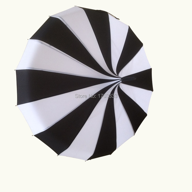 2016 new long handle pongee canopy white and black colors fancy pagoda umbrellas free shipping