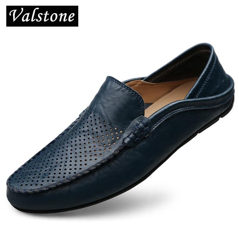 Valstone Mænds fritid lædersko Slip-on loafers 2018 sommer cool - Mænds sko
