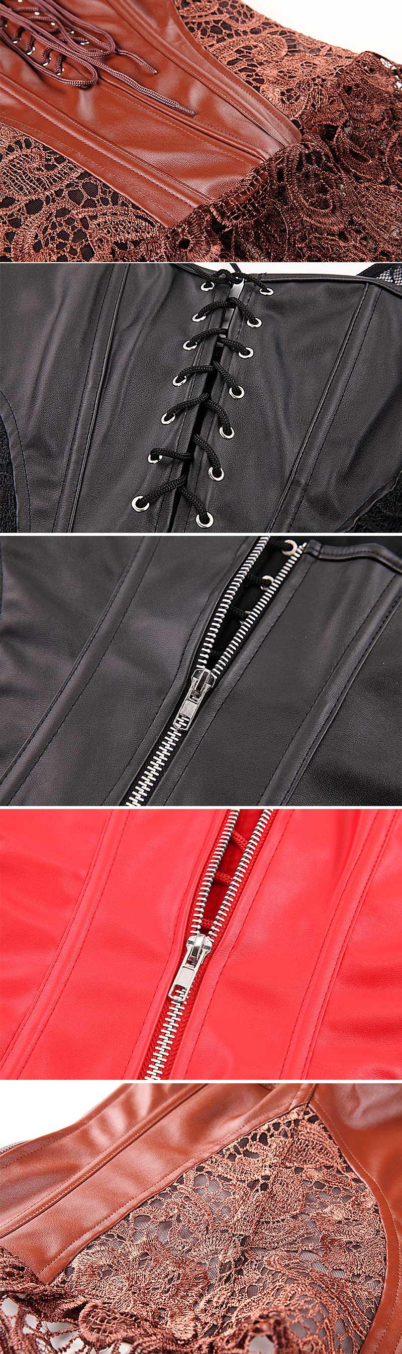 Corset Dress With Laciness Skirt Plus Size 6XL Steampunk Bustier Black Red Brown Corselet Faux Leather Outwear Dress Bone Korset 16