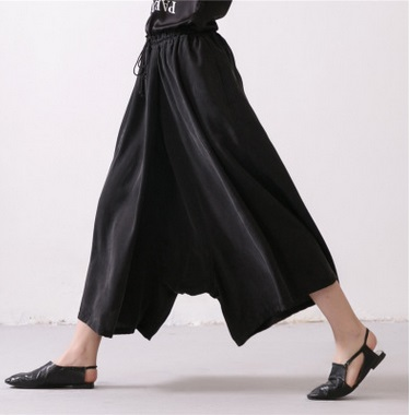 2016 spring product launches, original design loose big yards silk linen pure color womens wide leg pants