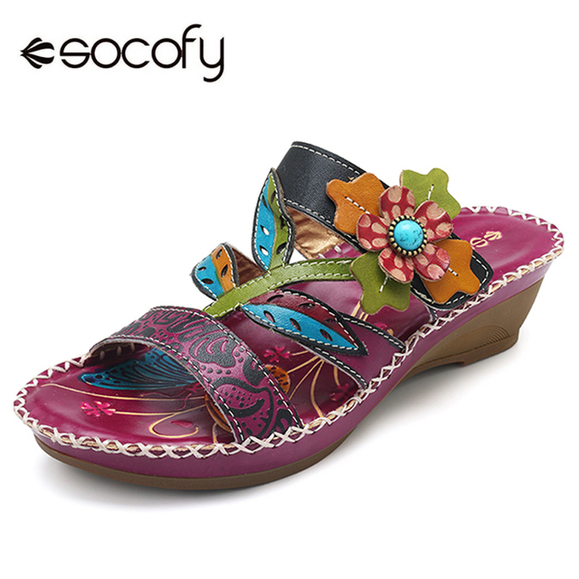 0eacbe3c4a9fa Socofy Bohemian Slippers Women Genuine Leather Shoes Woman Summer Sandals  Hook Loop Retro Bohemia Wedge Heel Slides Slippers New