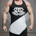 Mens Tank Top TShirt Stringer Bodybuilding Golds  Cotton Personality Oblique Hem Cotton Men Tee / Black White Basic Tank Top