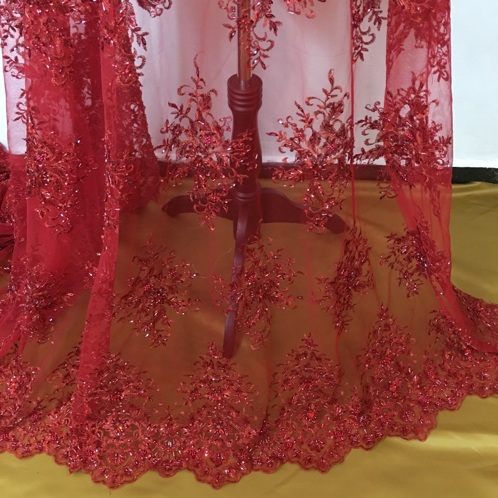 Beaded Lace Fabric Red High Quality New Arrival Bride
