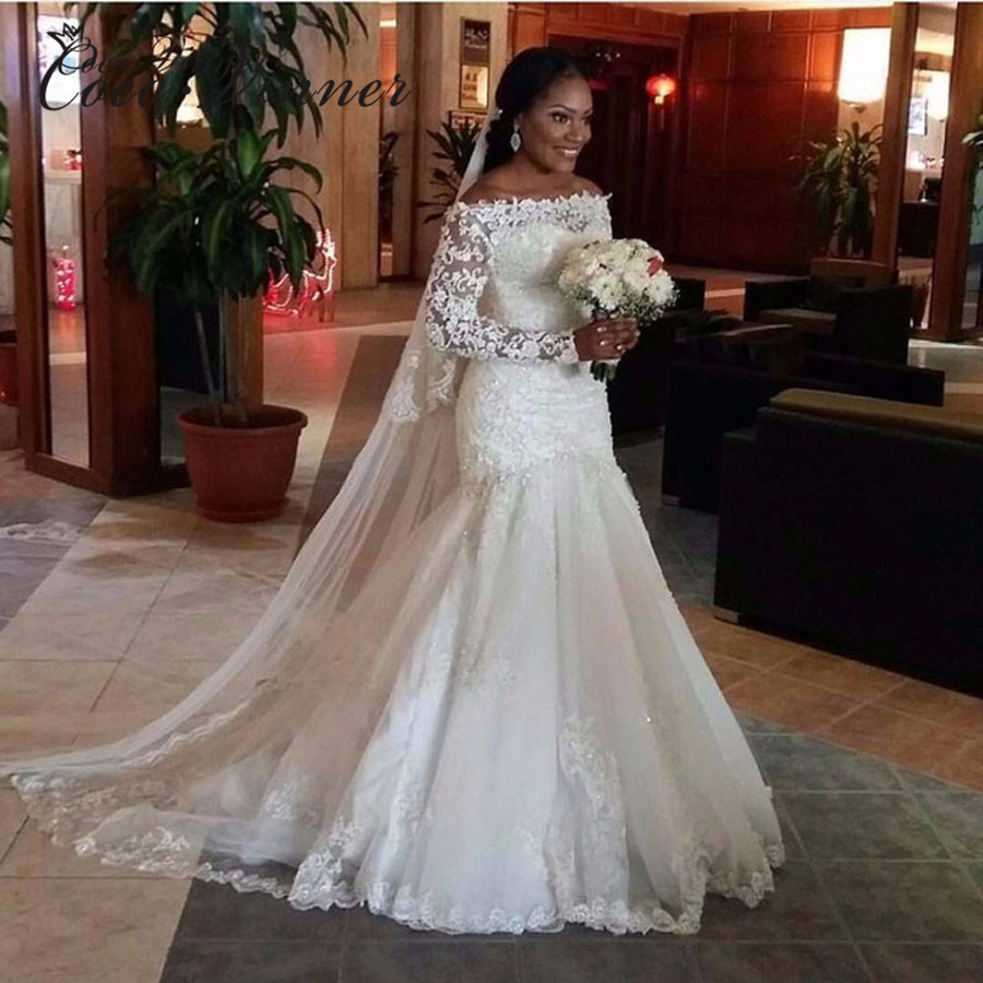 African New 2020 Mermaid Wedding Dress Long Sleeve Emboridry With Beading Court Train White Color Vintage Wedding Gown W0039