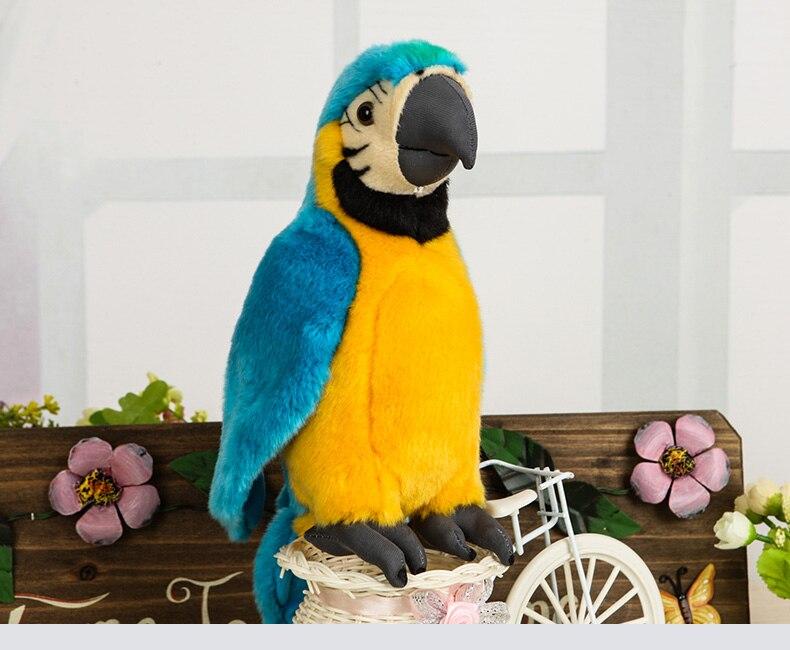 25 cm réaliste Macaw jaune/bleu oiseau en peluche jouet réaliste blanc perroquet en peluche animaux jouets oiseau en peluche cadeaux pour enfants garçons filles