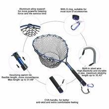 Goture Telescopic Fishing Net Landing Net Of Aluminum Alloy Frame Small Rubber Mesh Magnetic Clip Lanyard Fly Fishing