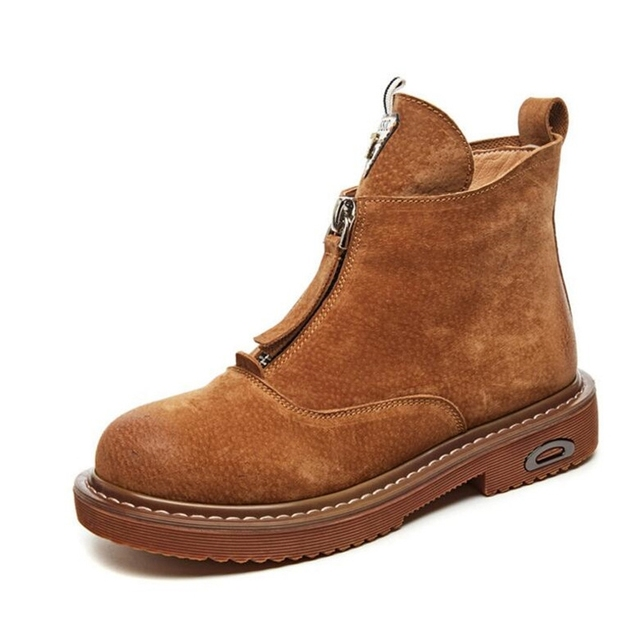 Ankle Boots Women Autumn Genuine Leather Boots Zipper Womens Shoes