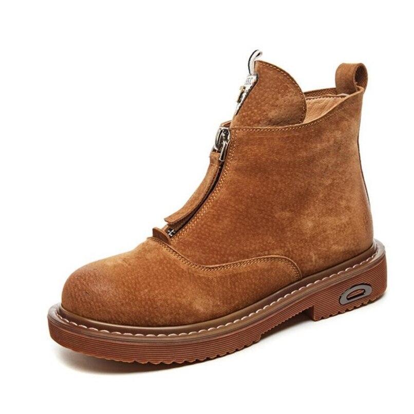 Chaussures Botas Cuir Automne Boots boots boots Zipper En Brown Khaki Femme Bout Rond Femmes Bottines Bottes Véritable Black Mujer Démarrage Plat w7gIq100x