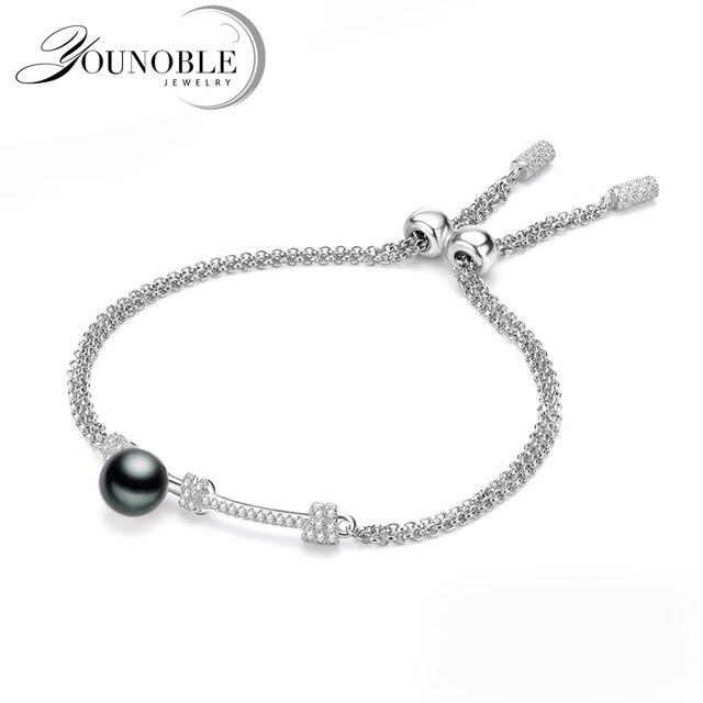 Real Freshwater Pearl Bracelet 925 Sterling Silver Bracelets Chain For Women Jewelry Adjule Friend Best Birthday