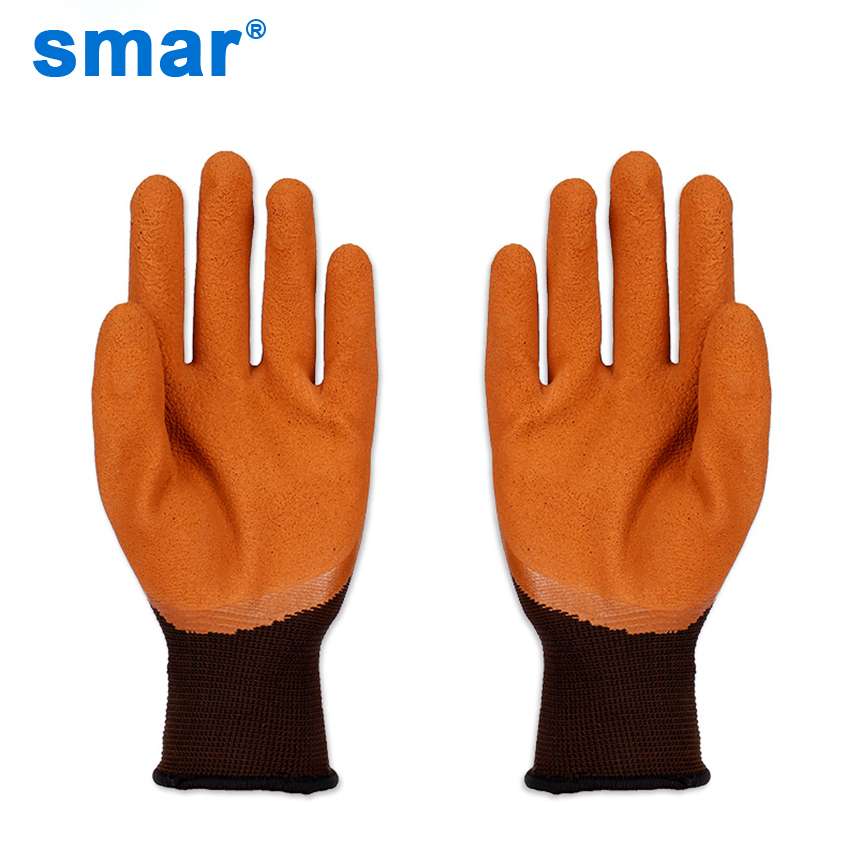 Smar 12 Pairs Latex Brown Grey Muti color Outside Safety Working Gloves Men Muti Function Gloves