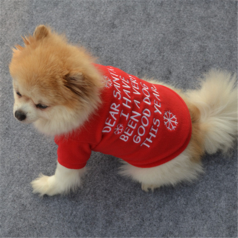 red merry christmas dog clothes pet puppy clothing for dogs coat winter warm chihuahua apparel christmas costume sweatshirt xs l in dog coats jackets from