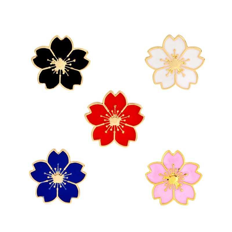 Hot Sale Putih Pink Biru Enamel Bunga Sakura Bros Gadis Manset Kerah Pin Lencana Fashion Bros untuk Wanita Harian Perhiasan