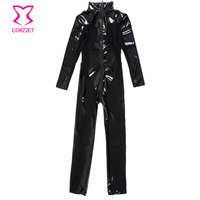Corzzet Halloween Black Latex Rubber Costume Transpare&Mesh Zipper Zentai Catsuit Women Erotic Plus Size Catsuit