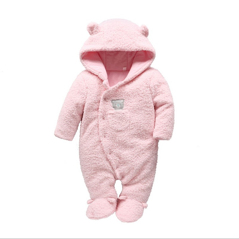 Free shipping Newborn baby clothes bear baby girl boy rompers hooded plush jumpsuit winter overalls for kids roupa menina
