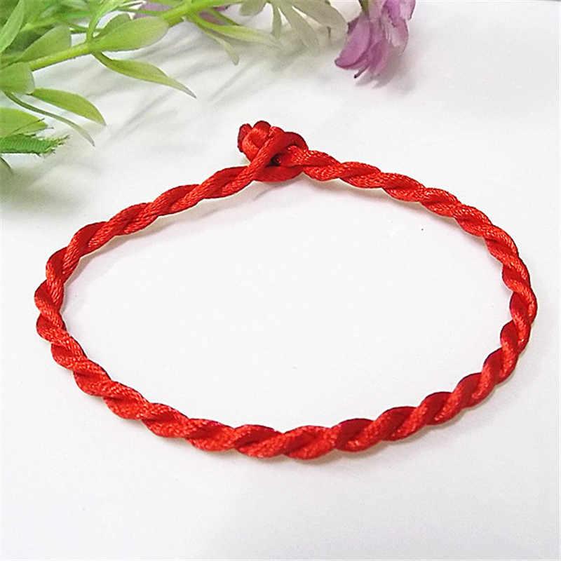 מכירה 2019 1 PC אופנה אדום חוט מחרוזת צמיד מזל אדום בעבודת יד חבל צמיד לנשים גברים תכשיטי מאהב זוג