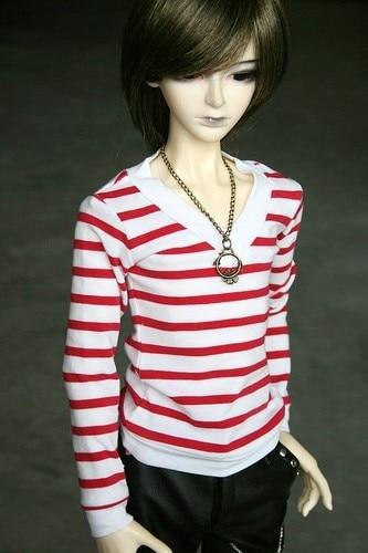 06# Black Striped T-shirt 1//4 MSD AOD DOD BJD Doll Dollfie PF