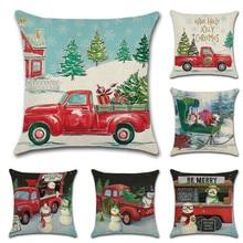 1 PC Cartoon Pattern Pillow Case Snowman Christmas Tree Pillowcase Square 45x45cm For Home Fashion Waist Soft Room Cover