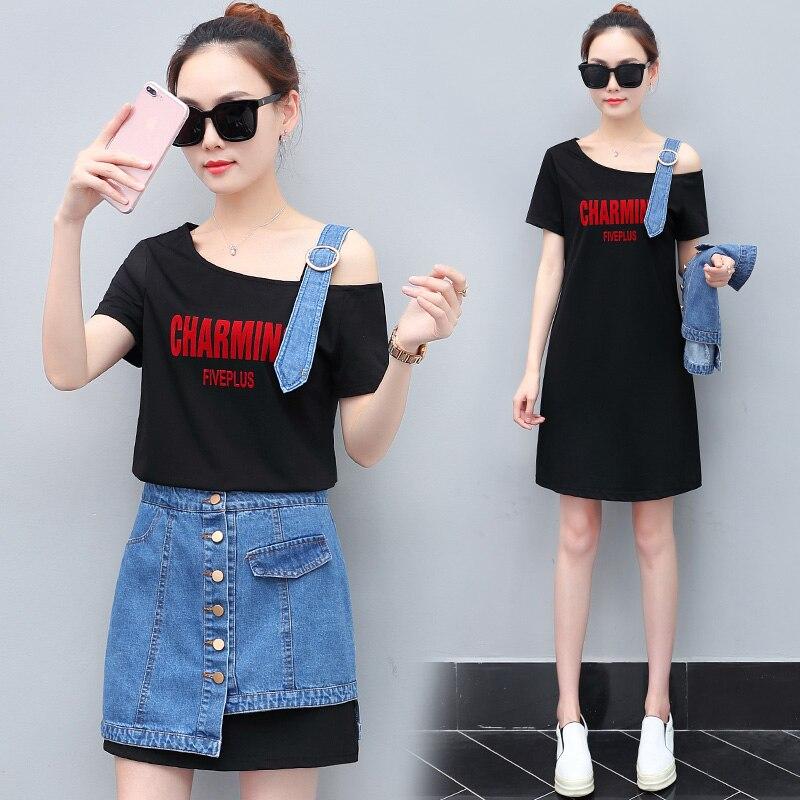 2018 Summer girl casual wear new tie-in dress a word shoulder & denim skirt two-piece suit Korean fashion women dresses set