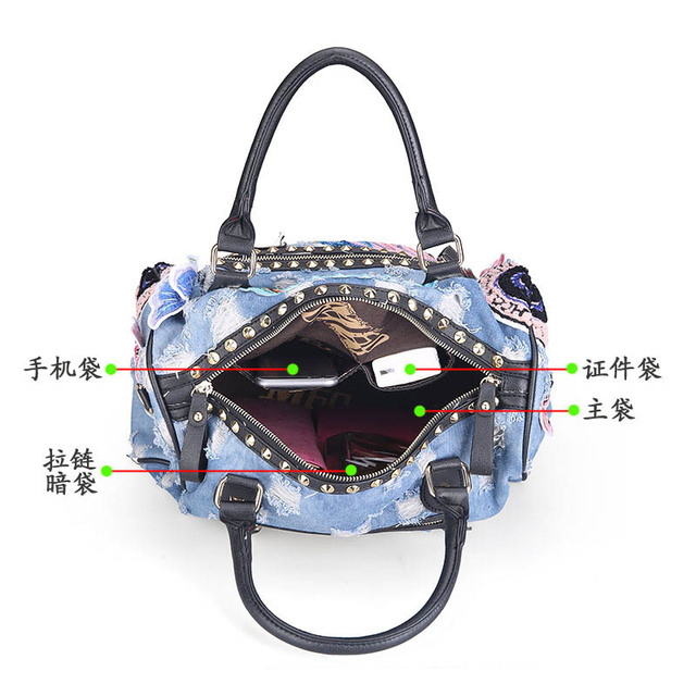 New 2016 Women Luggage Travel Bags Cute Cartoon Daypack Denim Bags Handbags Fashion Shoulder Bag Female