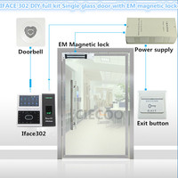 Face recognition iface302 RFID card reader for single glass door DIY full kit with electromagnet lock em lock LZ bracket CE SDK
