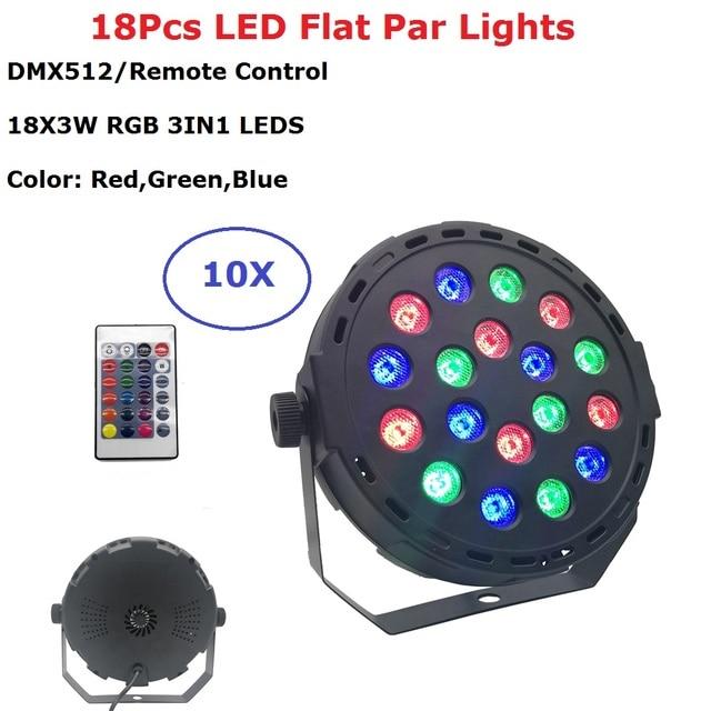 Fast Shipping 18X3W RGB 3IN1 LED Flat Par Lights Dj Wash Party Lights DMX/Remote Control Stage Uplighting KTV Disco DJ DMX512