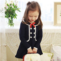 Children Dress Girls New 2017 Spring Baby Girls Lovely Lace A-line Dresses Casual Elegant Girl Cotton Longsleeve Turndown Collar