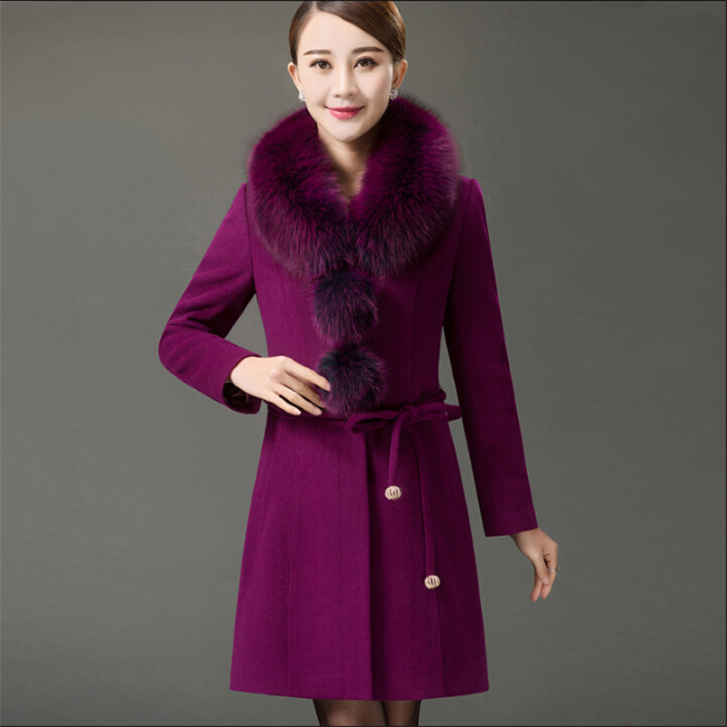 Faux Fur Collar Women Thicken Autumn And Winter Blends Coat Wool Solid Color With Belt Overcoat Casaco Feminine Coats <font><b>A2505</b></font> image