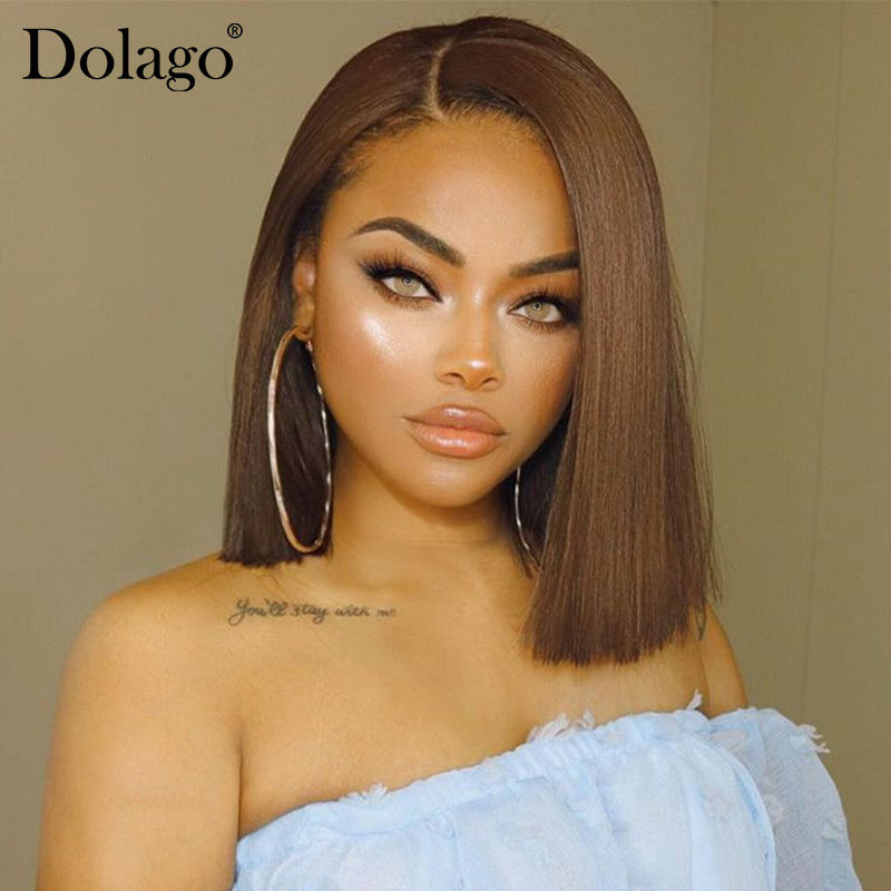 Light Brown Lace Front Human Hair Wigs #4 Straight Short Bob Wigs 150% Density Honey BlondeLace Wigs Dolago Colorful Wig Remy