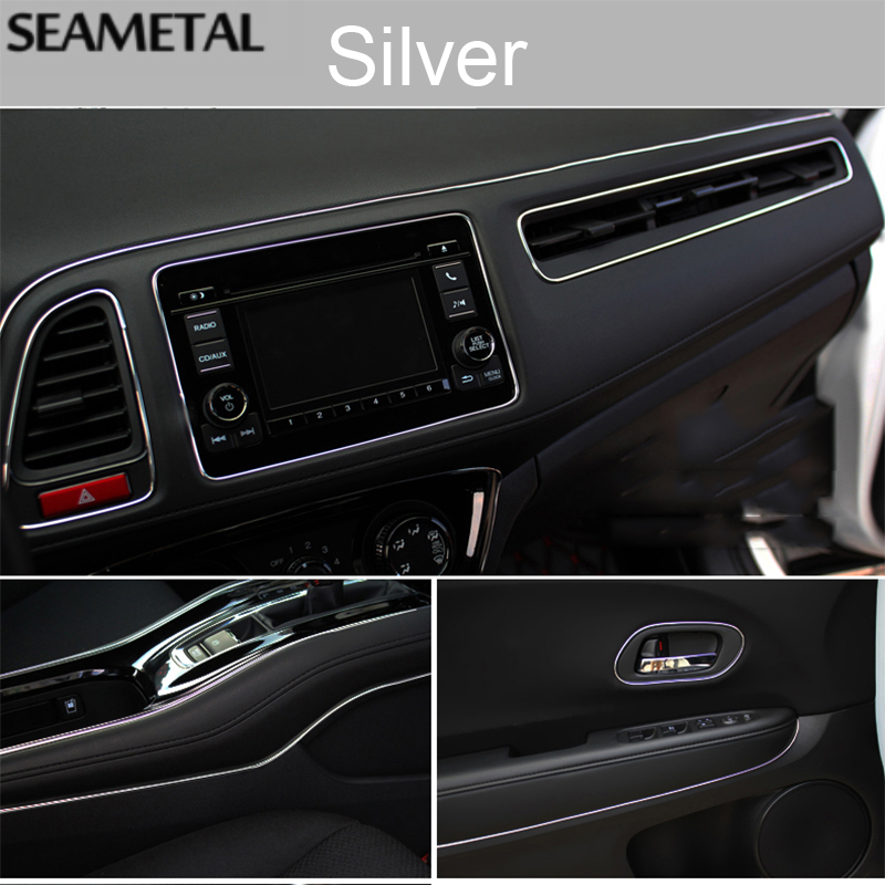 Car Interior Decor Strip Silver 5 Meters Interior Decor Strip Car Interior Moulding Strips Door Dashboard Air Vent Steering-wheel Flexible Decor Line