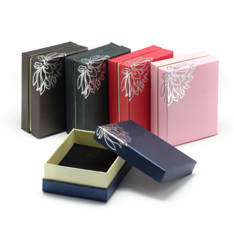12pc 9x7x3.5cm Tone Flower Cardboard Jewelry Boxes For Rings Earring Necklaces Mixed Color Storage Gifts Display Boxes