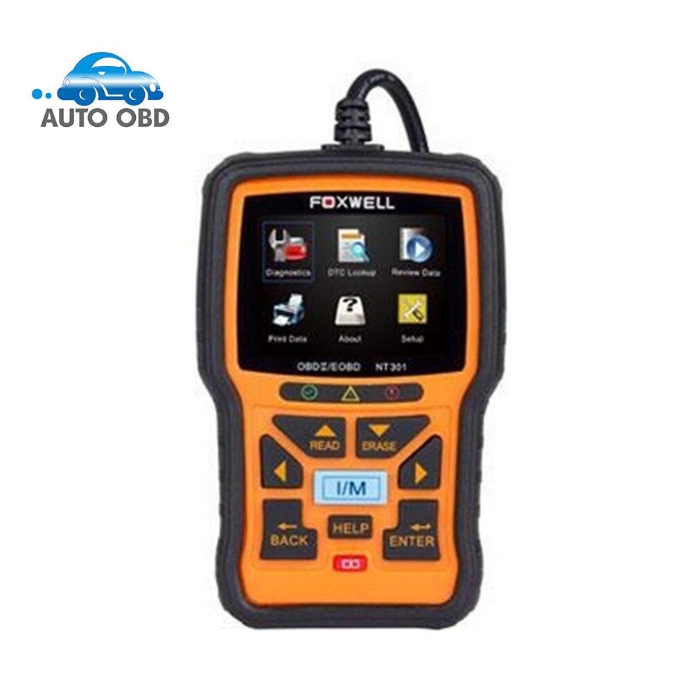 Цена за Лучший автоматический сканер odb2 сканер Foxwell NT301 OBD-II OBD2 EOBD Двигателя Диагностический Инструмент + Оперативные Данные Графические