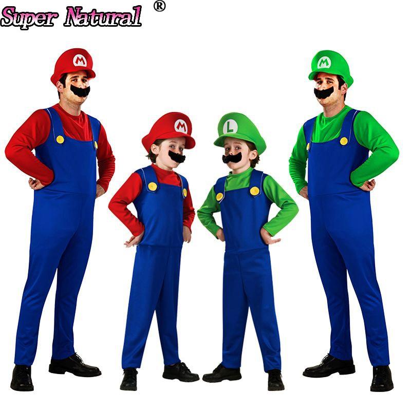 Good Quality Kids Adult Super Mario Bros Cosplay Costume Set Halloween Party MARIO LUIGI Women Men Pajamas Onesie Include Hat