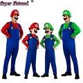 Hot Niños Adultos Super MARIO LUIGI Mario Bros Cosplay Costume Set Fiesta de Halloween Mujeres Hombres Pijamas Onesie Incluye Sombrero