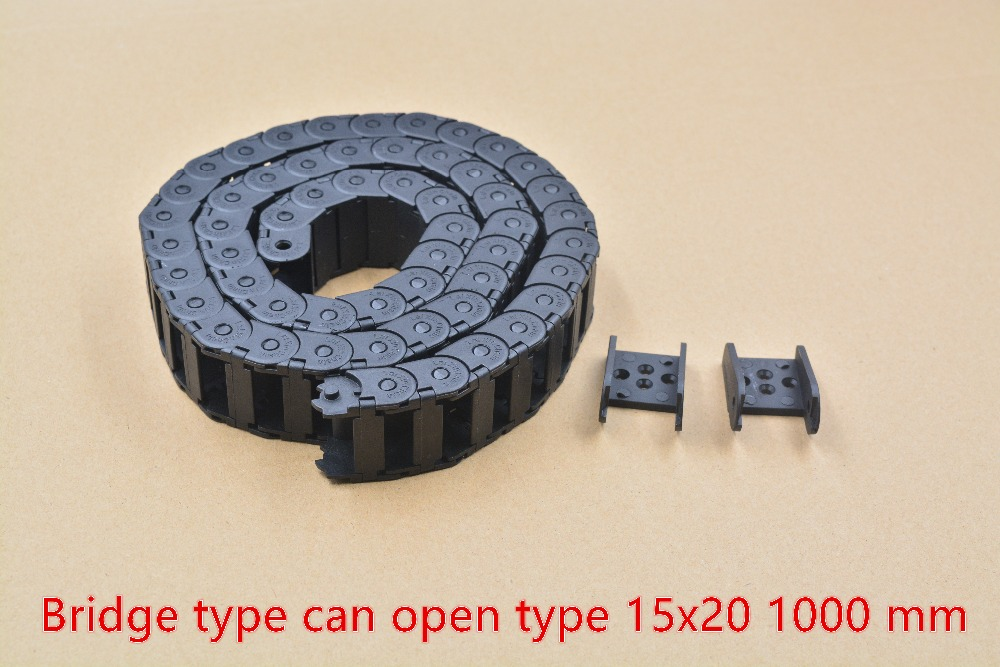 1pcs bridge type can open plastic 15mmx20mm drag chain with end connectors length 1000mm engraving machine