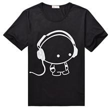 Mens T Shirts Fashion 2016 Headset Cartoon Printed Casual T Shirt Men Brand T shirt Marcelo