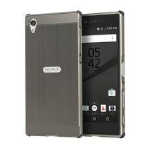 Для Sony Xperia Z5/Z5 Премиум чехол антидетонационных Корпус Роскошные Покрытие Алюминий металла Рамки и зачесаны назад крышка телефона Coque