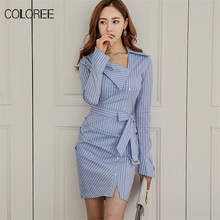 COLOREE 2018 New Fashion Blue Striped Women Pencil Dress Classic Elegant  Long Sleeve Bleted Sheath Office Dresses Vestidos Femme 497008fb2cca