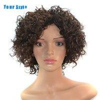 Su Estilo Sintético Corta Peluca De Las Mujeres Negras Marrón Natural Afro Rizado Pelo rizado Pelucas de Fibra Resistente Al Calor
