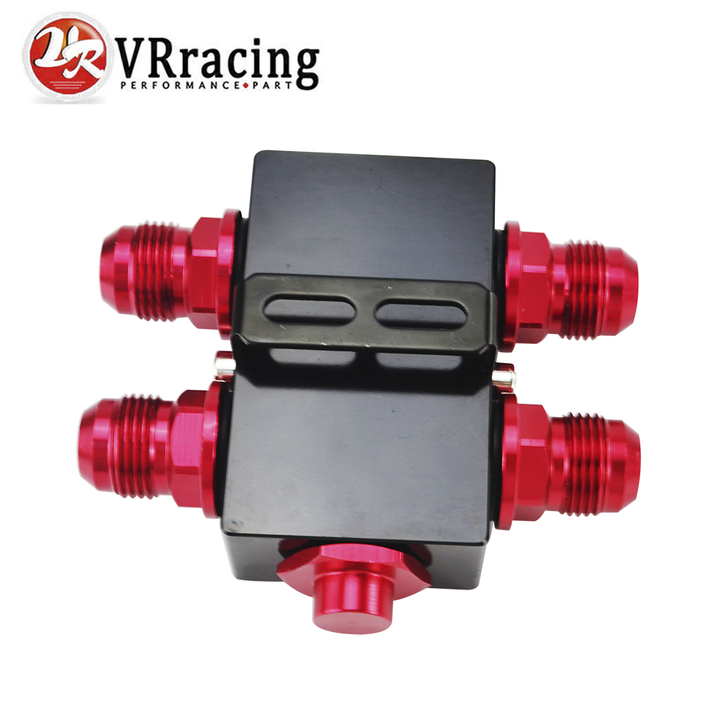 VR RACING - Oil Filter Sandwich Adaptor With In-Line Oil Thermostat AN10 fitting Oil Sandwich Adapter VR5672BK wlring oil filter sandwich adaptor for high quality oil filter remote block with thermostat 1xan8 4xan10 orb female wlr6744