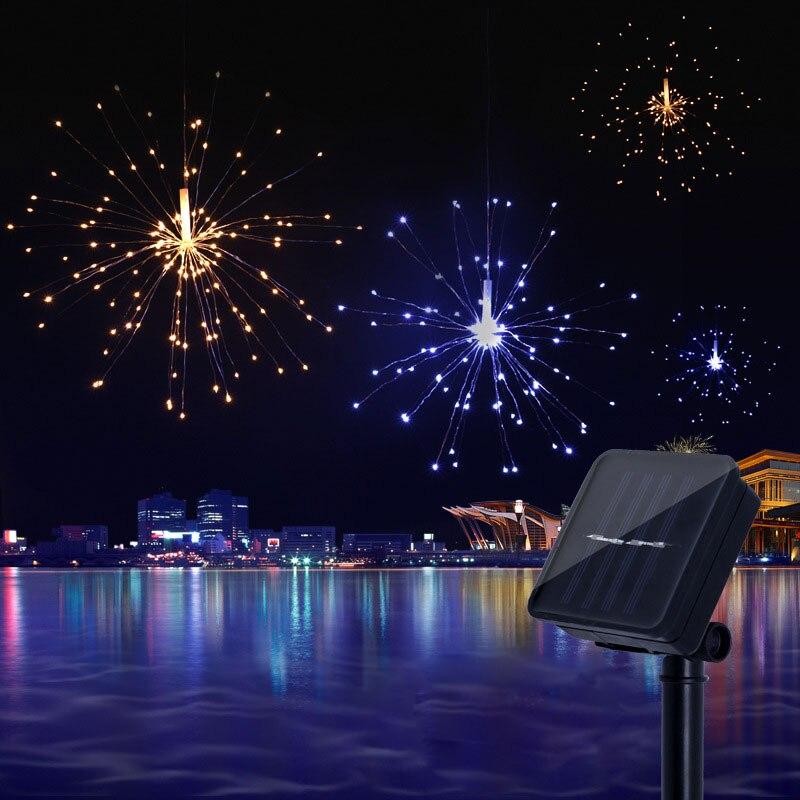 Solaire Hanging Starburst Chaîne Lumière 200 Leds DIY Cuivre Fée Lumière De Noël Garland Noce Twinkle Lumières