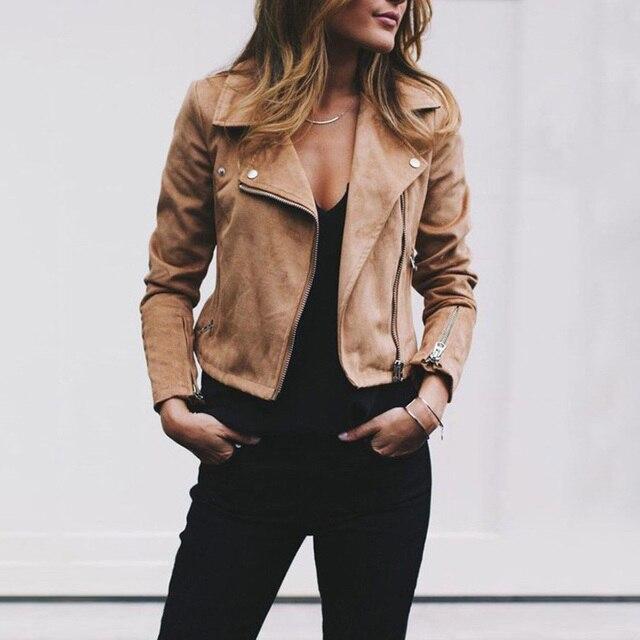 3d83d9aaf93 Fashion Women Suede Leather Jacket Cool Zipper Lapel Slim Coat Biker  Motorcycle Jackets 2018 Autumn Winter