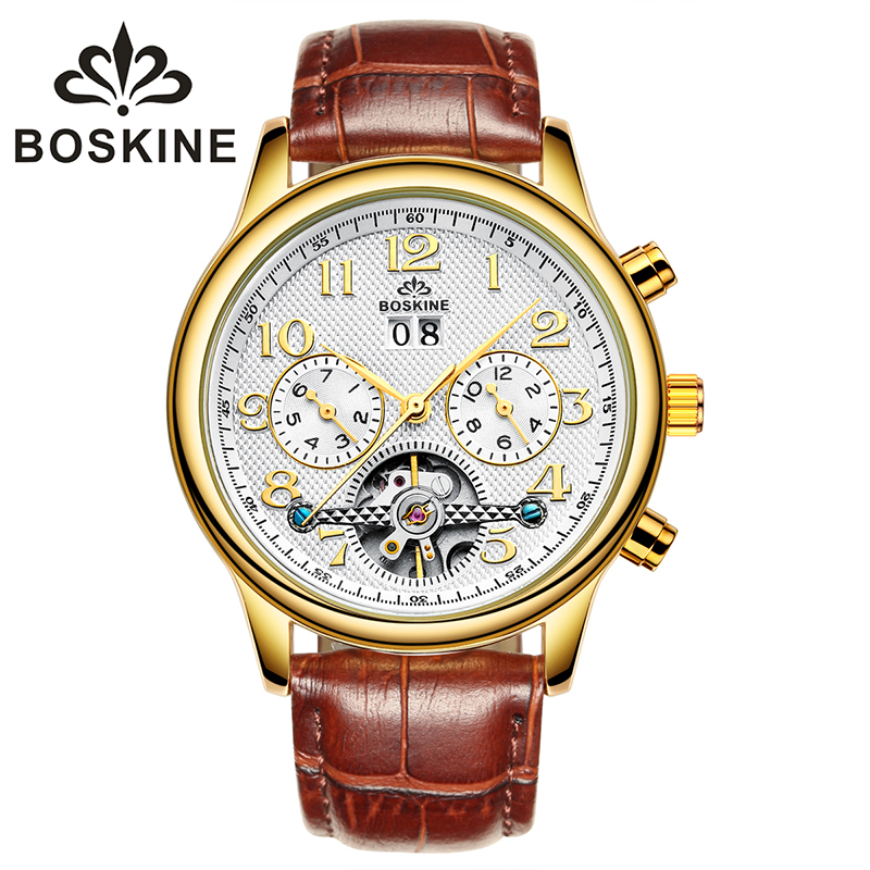 ФОТО 2017 NEW Brand BOSKINE 8812G Men's Lurxy Mechanical Wristwatches Fashion Leather Watches Casual Calendar Watch