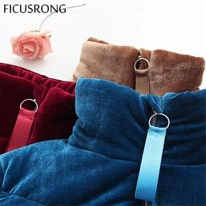 Image 5 - Moda de veludo algodão acolchoado básico casaco jaqueta quente azul parkas jaquetas feminino outono inverno jaqueta outerwear feminino ficusrong