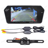 wireless 7 inch bluetooth TFT car mirror Monitor mp5 Two AV IN with 7 LED night vsion Rearview parking Camera kit