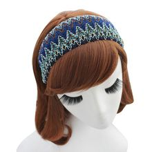 Bohemian Vintage Handmade Wide Headband Women Girl Ethnic Colored Wavy Stripes Woven Fabric Knitting Hair Hoop Beachwear 3 Color