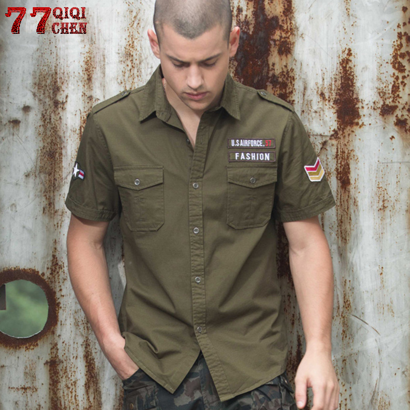 Mens Shirts Plus Size 6XL Army Military Tactical Badge Shirt Men 100%Cotton 2020 Male Casual Fitness Cargo Shirts Chemise Homme
